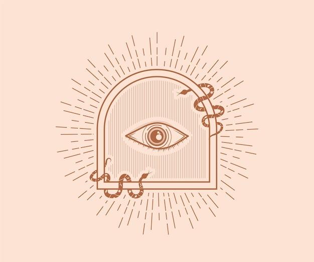 Heiliger mystischer gott alles sehende auge illuminati symbol illustration heilige geometrie tattoo narbendruck