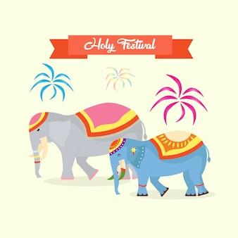 Heiliges fest mit elefantendekoration