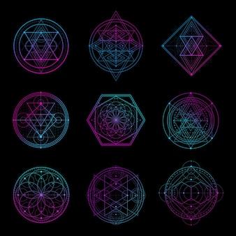 Heiliges geometrie-zeichen mit neonfarbe