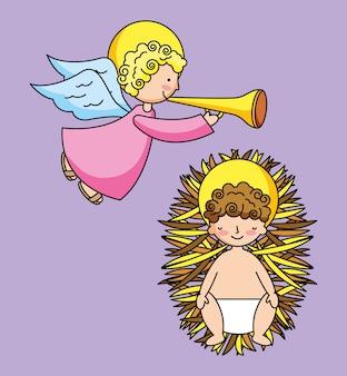 Heiliges jesus-baby und engel