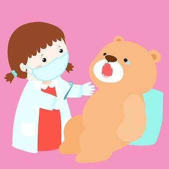 Heilungspuppe des kleinen mädchens haben zahnverfall
