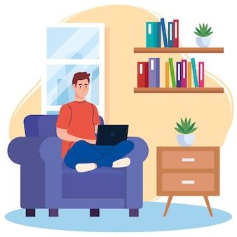 Heimarbeit, freiberuflicher junger mann mit laptop auf sofa, arbeiten von zu hause in entspanntem tempo, bequemer arbeitsplatz
