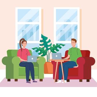 Heimarbeit, freiberufliches junges paar mit laptops im wohnzimmer, von zu hause aus in entspanntem tempo arbeiten, bequemer arbeitsplatz