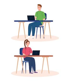 Heimarbeit, freiberufliches junges paar mit laptops in schreibtischen, von zu hause aus in entspanntem tempo arbeiten, bequemer arbeitsplatz