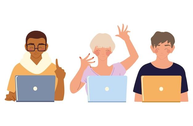 Heimarbeit, junge leute, die laptop-gerätetechnologie verwenden