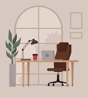 Heimarbeitsplatz loft-büroarbeitsplatz mit großem fenster und pflanze coworking space-konzept