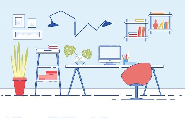 Heimarbeitsplatz mit computer, der auf schreibtisch steht