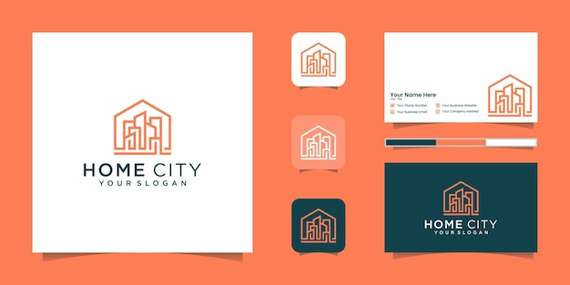 Heimatstadt, gebäudelogo mit strichgrafikstil premium-logo und visitenkarte