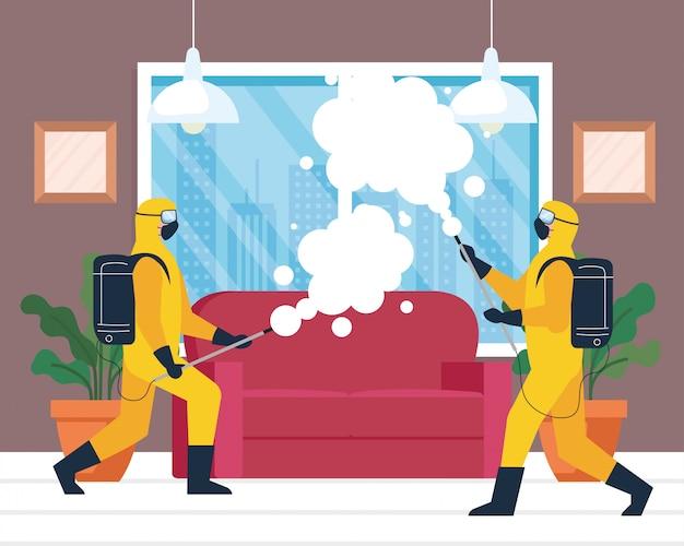 Heimdesinfektion durch gewerblichen desinfektionsdienst, desinfektionsarbeitergruppe mit schutzanzug und spray verhindern covid 19