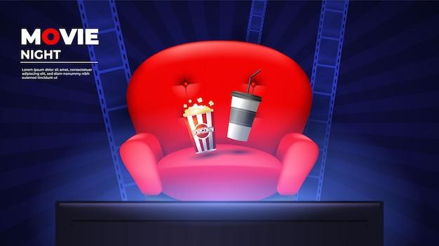 Heimkino-hintergrund mit popcorn