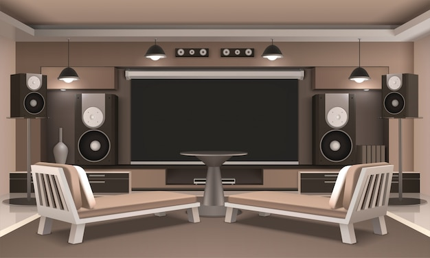 Heimkino-innenraum mit rundem tisch