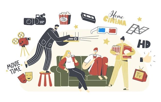 Heimkino-konzept. leute, die mit soda und popcorn fernsehen, männliche und weibliche charaktere sitzen zusammen auf der couch am faulen wochenendabend. freizeit, freizeit, ruhetag. lineare vektorillustration