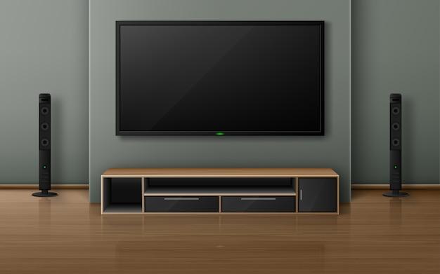 Heimkino mit tv-bildschirm und lautsprechern im modernen wohnzimmer. realistischer innenraum mit plasmafernseher an der wand, stereoanlage und ständer auf holzboden