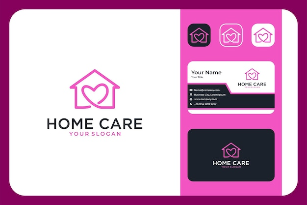 Heimpflege mit liebeslogo-design und visitenkarte