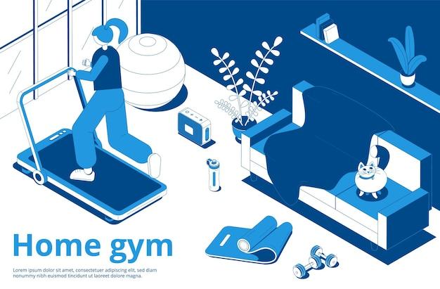 Heimtraining fitness körperliche verfassung cardio-training isometrische zusammensetzung mit junger frau auf laufband laufen