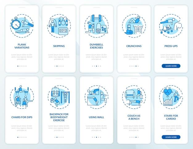 Heimtraining online-onboarding-bildschirm für mobile app-seiten mit festgelegten konzepten. die übung im fitnessstudio ersetzt die exemplarischen schritte. ui-vorlage mit rgb-farbe