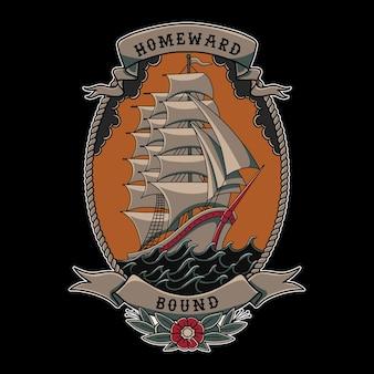 Heimwärts gebundenes segelschiff mit traditionellem tattoo-stil