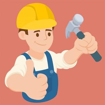 Heimwerker, der einen hammer hält