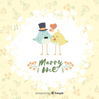 Heirate mich illustration mit niedlichen vögeln
