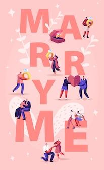 Heirate mich konzept. männer machen romantischen vorschlag an frauen, geben verlobungsring auf dem knie stehend. karikatur flache illustration