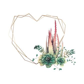 Heiratender bunter Rahmen mit Succulent und Kakteen.