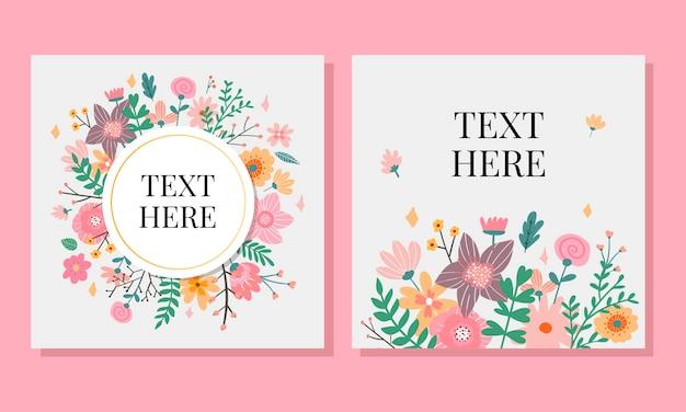 Heiratseinladungskarte mit kundenspezifischem zeichen- und blumenrahmen über hölzernem. illustration.