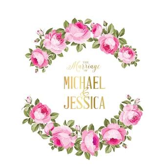Heiratseinladungskarte von rosafarbenen blumen der farbe.