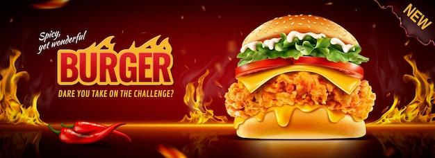 Heiße brathähnchen-burger-werbebanner mit brennendem feuereffekt in 3d-darstellung