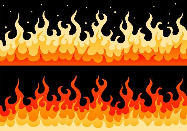 Heiße brennende wand der feuerflammen-sicherheitszeichengrenze