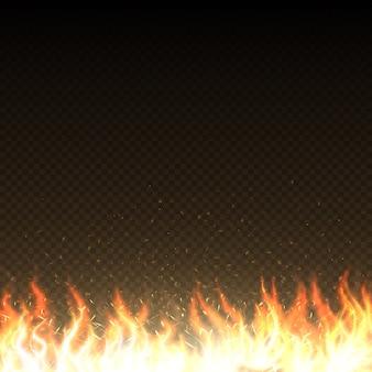 Heiße feuerflammen mit glühenden funken lokalisierten vektorschablone. leistung brennen hitze flamme illustration