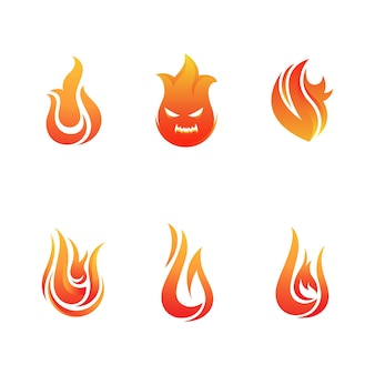 Heiße flamme feuer vektor icon illustration design-vorlage