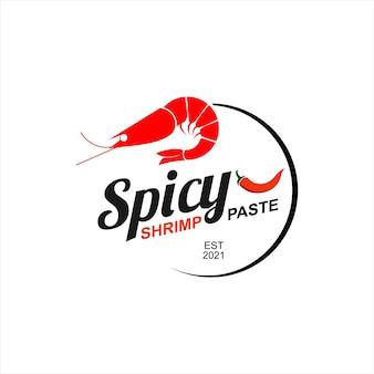 Heiße garnelenpaste logo asiatische lebensmittel vektor würzige gewürz label