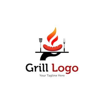 Heiße grill logo vorlagen
