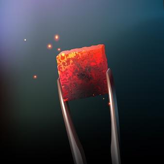 Heiße kohle der vektor-wasserpfeife mit zangen schließen seitenansicht auf unscharfen dunklen hintergrund