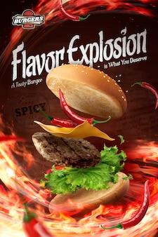 Heiße kühle hamburgeranzeigen mit loderndem feuer in der 3d-illustration