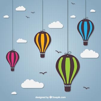 Heiße luft ballons hängen an seilen