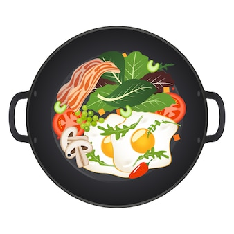 Heiße pfanne mit spiegeleiern, speck, pilzen, tomaten und salat, draufsicht. isolierte illustration.