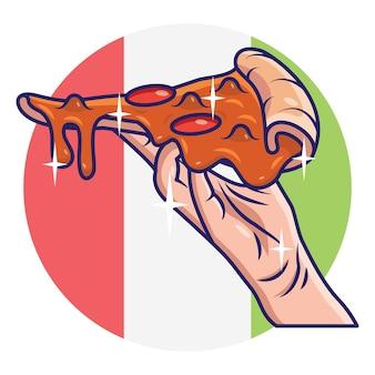 Heiße pizzascheibe mit schmelzendem käse auf händen konzeptdesign. premium-vektor