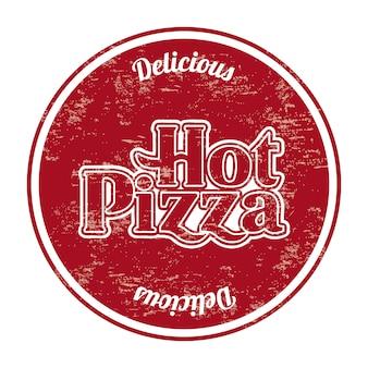 Heiße pizzasiegel über weißer hintergrundvektorillustration