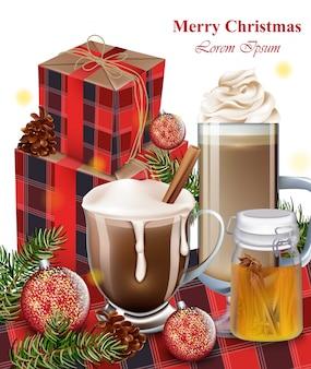 Heiße schokolade, latte und geschenkboxen. winterurlaub hintergründe