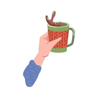 Heiße schokolade oder kaffee in der tasse getränkespritzer