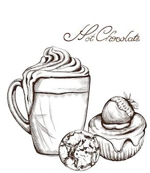 Heiße schokolade und cupcake