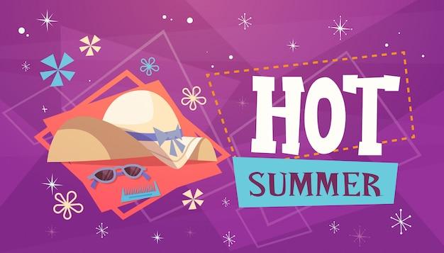 Heiße sommerferien-seereisen-retro- fahnen-küstenurlaub