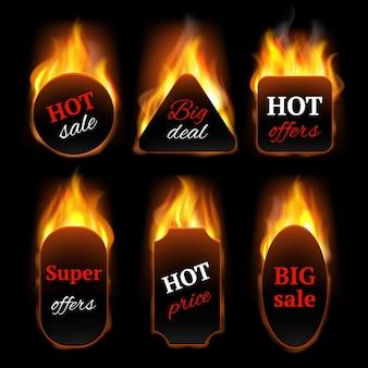 Heiße sonderangebote. werbebanner mit realistischen vorlagen für feuerflammenvektoren. illustration heißes angebot und feuerverkauf, flammenrabatt, werberäumung schwarzer promo-verkauf