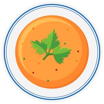 Heiße suppe in schüssel