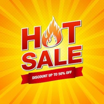 Heiße verkaufsentwurfsschablone mit brennender feuerflammenillustration auf gelbem pop-art-hintergrund