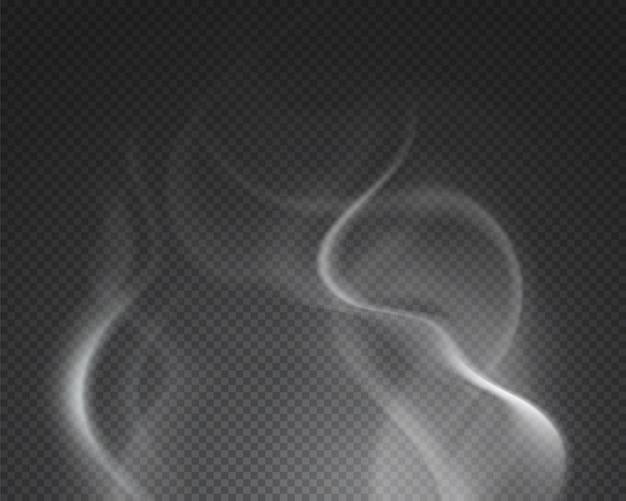 Heißer dampf. isolierte neblige rauchwolke. brennender getränkedampfdampf auf transparentem hintergrund