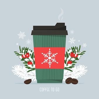 Heißer kaffee in einer pappbecher mit kaffeebohnen und weihnachtlichen tannenzweigen schneefallsaison heißgetränkekaffee zum mitnehmen vektorillustration im flachen stil