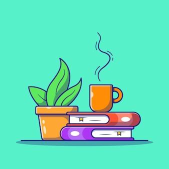 Heißer kaffee mit dampf auf einem buch flache symbol illustration isoliert