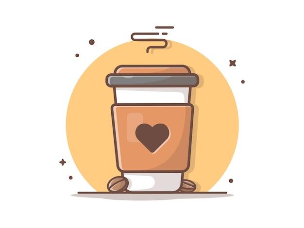 Heißer kaffee mit liebes-ikonen-illustration